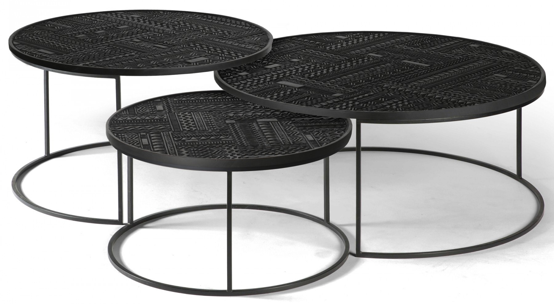 Picture of: Ethnicraft Teak Tabwa Round Nesting Coffee Table Set Of 3