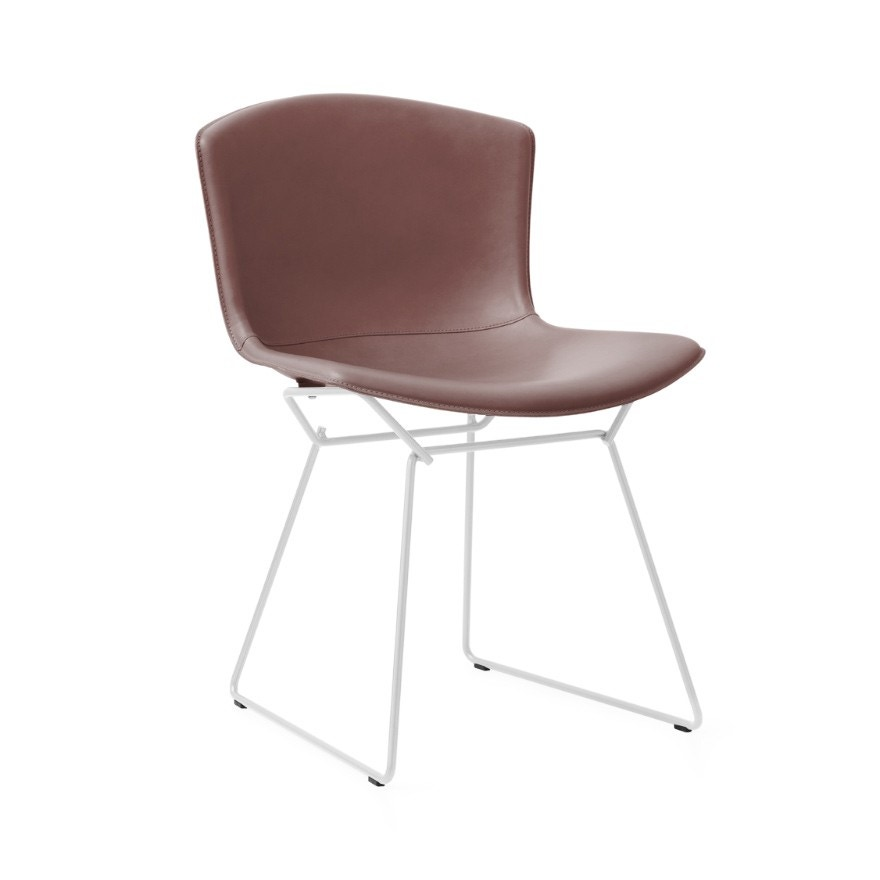 Knoll Harry Bertoia Leather Covered Side Chair