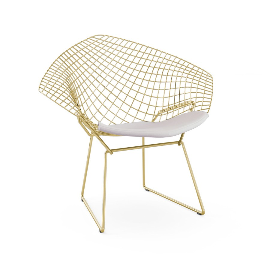 Knoll Harry Bertoia Diamond Lounge Chair in Gold