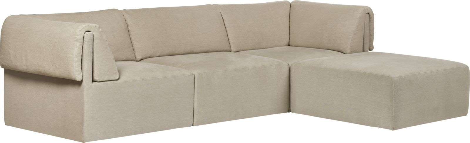 GUBI Wonder 3-Seater Sofa with Chaise Longue (Fully Upholstered)