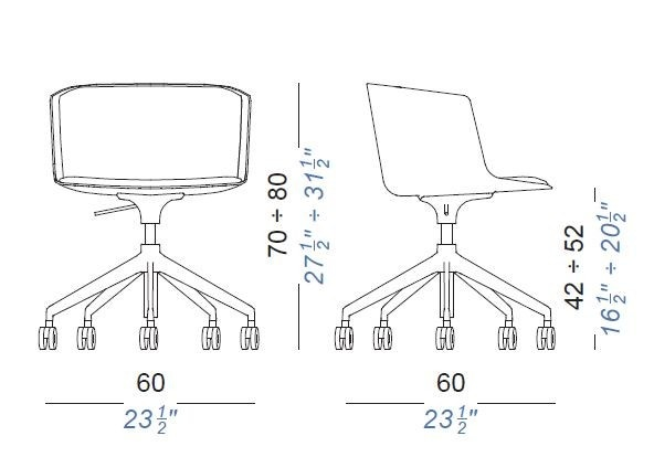 Lapalma Cut S189 Swivel Base Height Adjustable Armchair (Fully Upholstered)