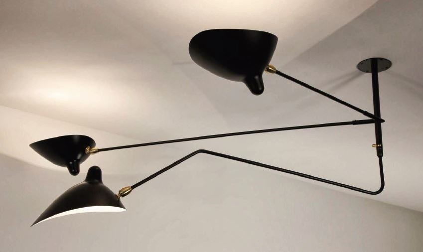 Serge Mouille Ceiling Lamp - 2 Still Arms, 1 Curved Rotating Arm