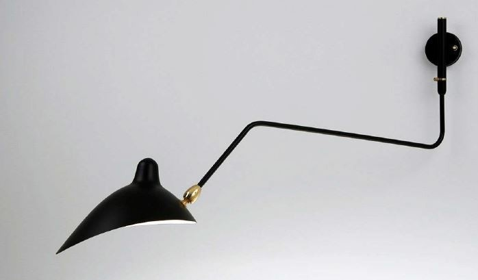 Serge Mouille Large Wall Lamp - 1 Rotating Curved Arm