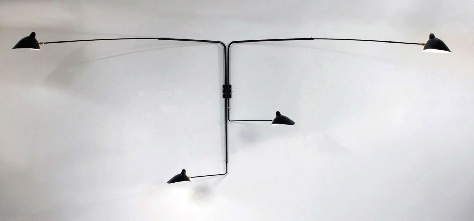 Serge Mouille Large Wall Lamp - 4 Rotating Straight Arms