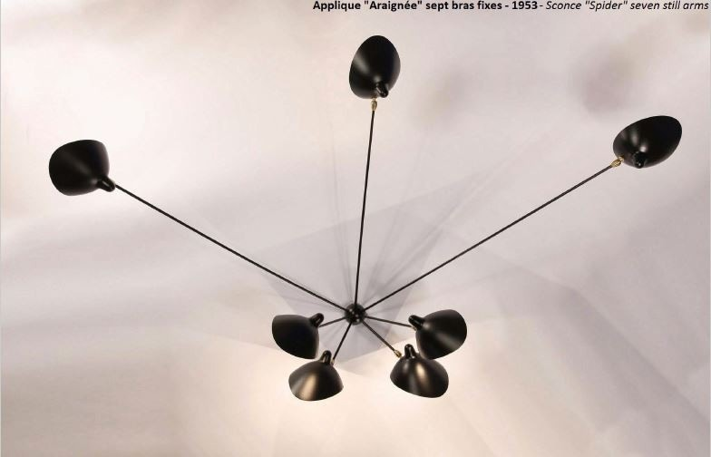 Serge Mouille Spider Large Wall Lamp - 7 Still Arms