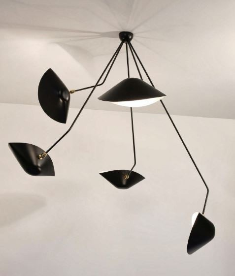 Serge Mouille Spider Ceiling Lamp 5 Still Angled Arms