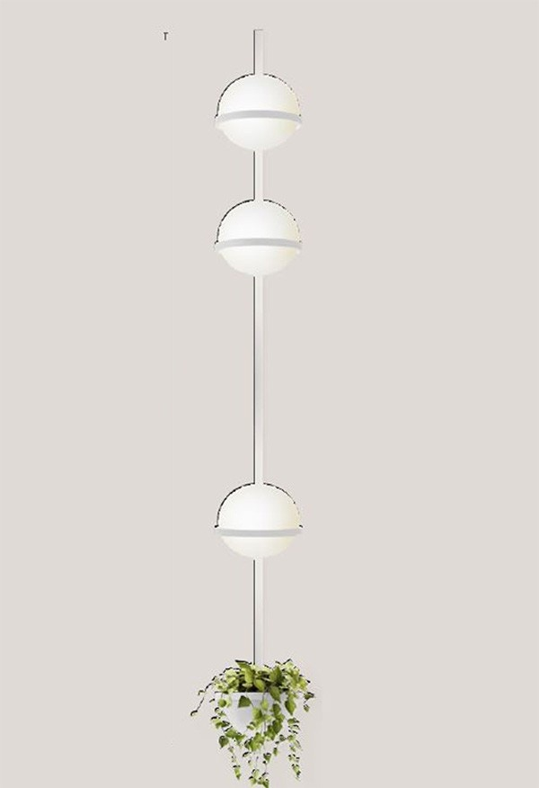 Vibia Palma Vertical Triple Wall Lamp with Planter