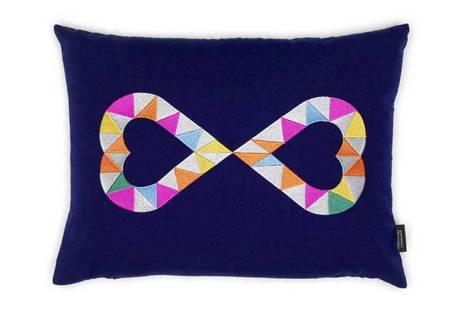 Vitra Embroidered Pillow - Double Heart 2