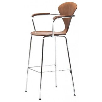 cherner stool chrome metal base with arms