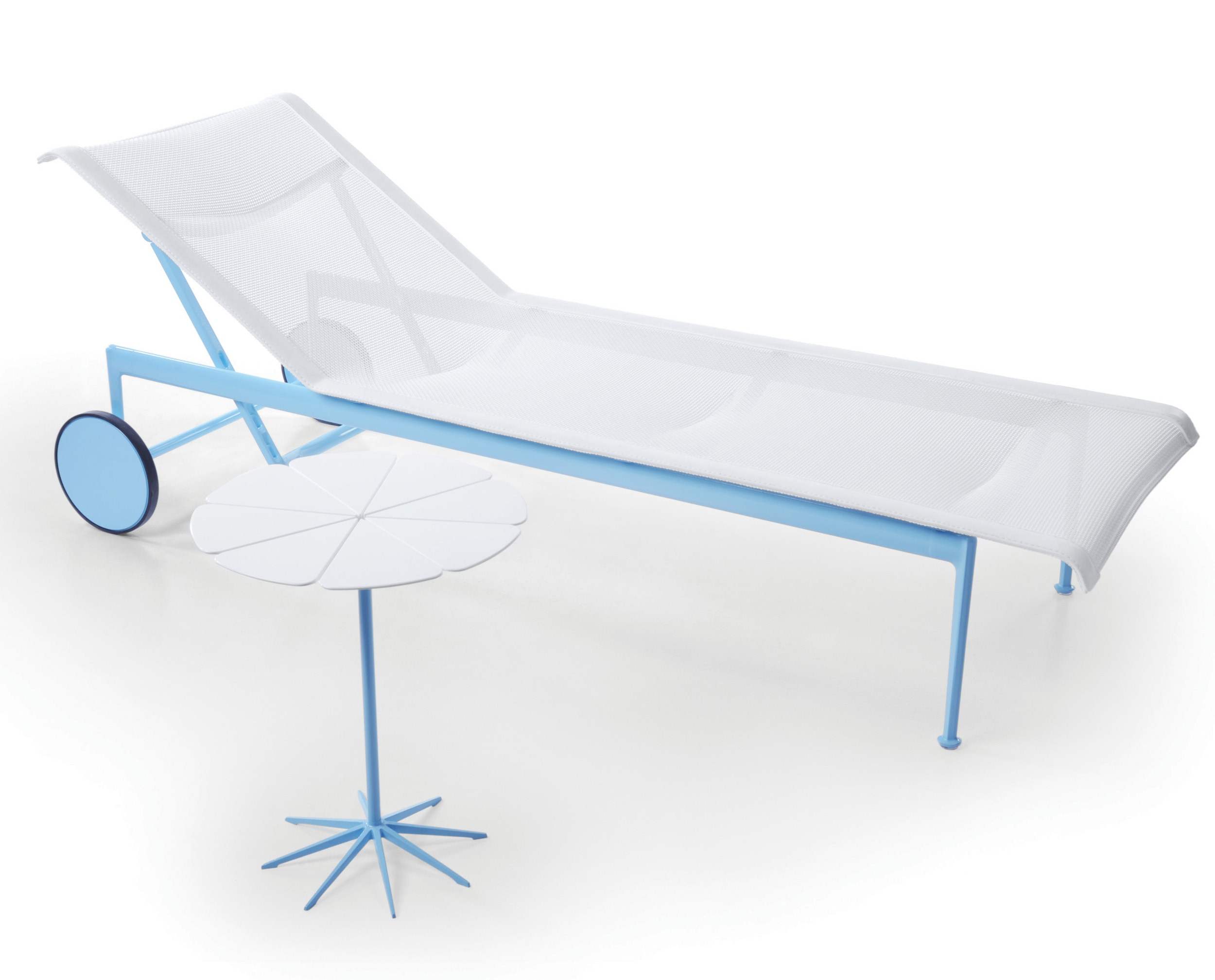 Richard schultz 1966 collection adjustable chaise lounge for Blue mesh chaise lounge