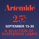25% off Artemide suspension lamps.